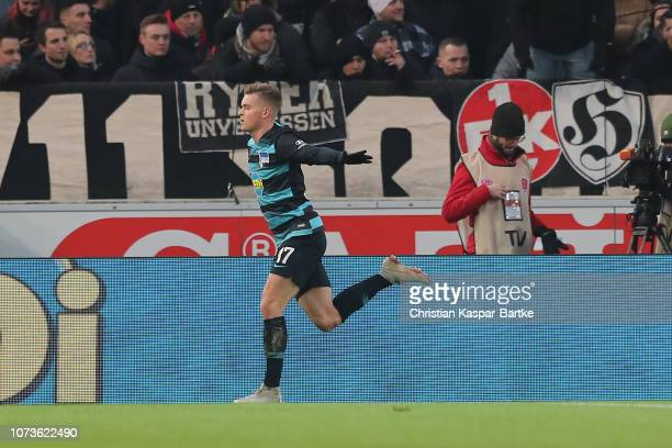 Maximilian Mittelstaedt of Hertha BSC celebrates after scoring his team's first goal during the Bundesliga match between VfB Stuttgart and Hertha BSC...