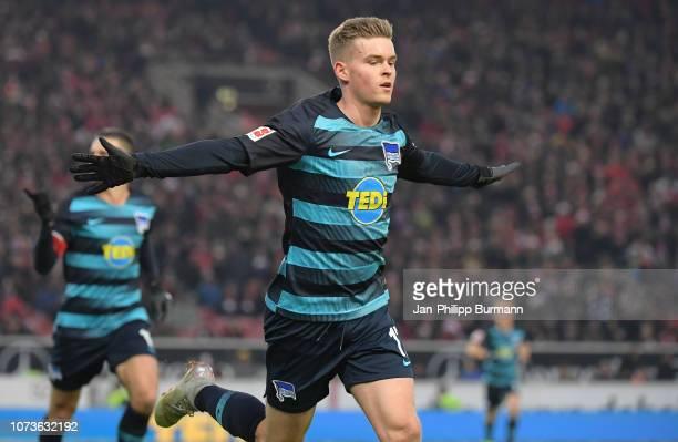 Maximilian Mittelstaedt of Hertha BSC celebrates after scoring the 01 during between VfB Stuttgart and Hertha BSC on december 15 2018 in Stuttgart...