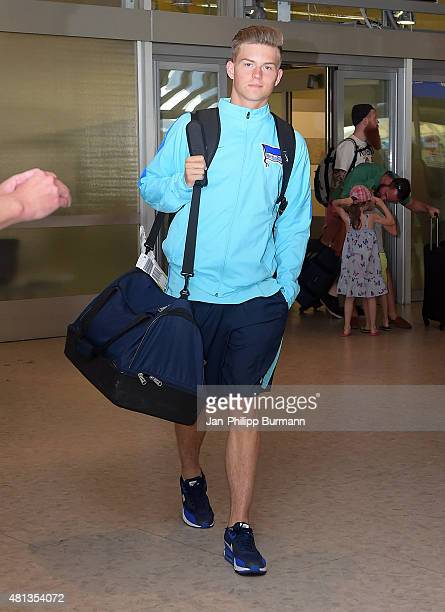 Maximilian Mittelstaedt of Hertha BSC during their arrival at Salzburg Airport ahead of the training camp in Schladming on July 19 2015 in Salzburg...