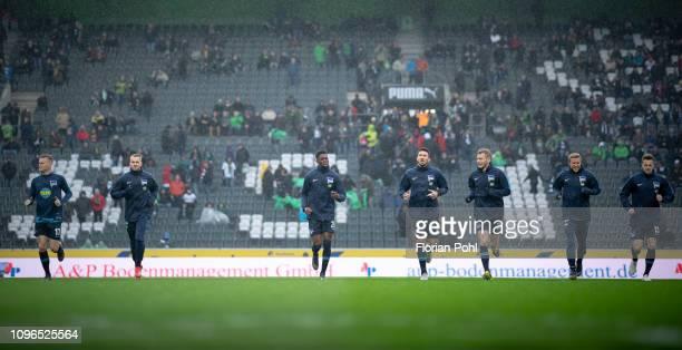 Maximilian Mittelstaedt Pascal Koepke Jordan Torunarigha Marko Grujic Fabian Lustenberger Per Skjelbred and Lukas Kluenter of Hertha BSC before the...