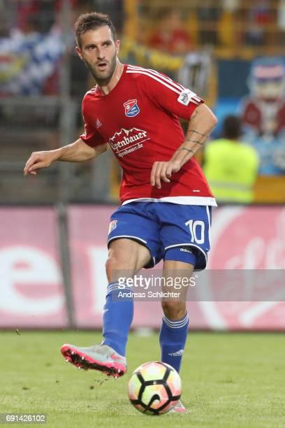Maximilian Nicu of Unterhaching during the Third League Playoff leg two match between SV Elversberg and SpVgg Unterhaching at Ursapharmarena on May...