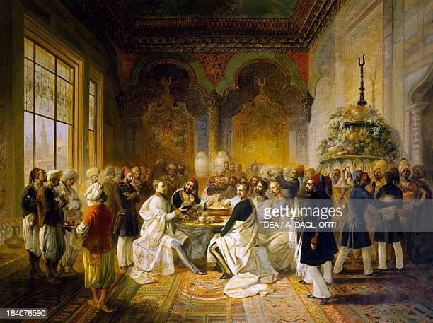 Maximilian of Habsburg and his brother Carlo Ludovico guests at a banquet given in Smyrna by Halim Pasha by Peter Johann Nepomuk Geiger oil on canvas...