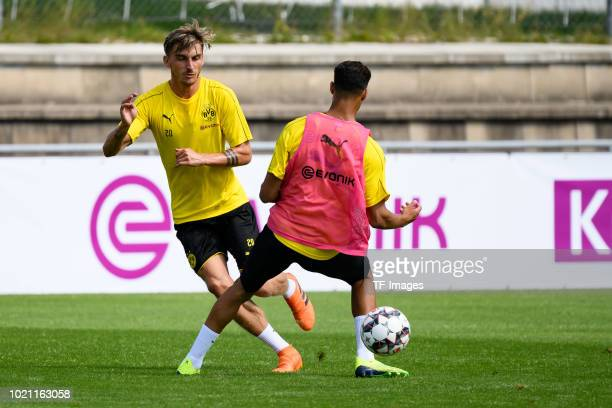 Maximilian Philipp of Borussia Dortmund and Achraf Hakimi of Borussia Dortmund battle for the ball during the Borussia Dortmund training camp on...