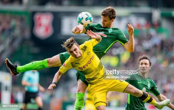 Maximilian Philipp of Borussia Dortmund in action during the Bundesliga match between SV Werder Bremen and Borussia Dortmund at the Weserstadion on...