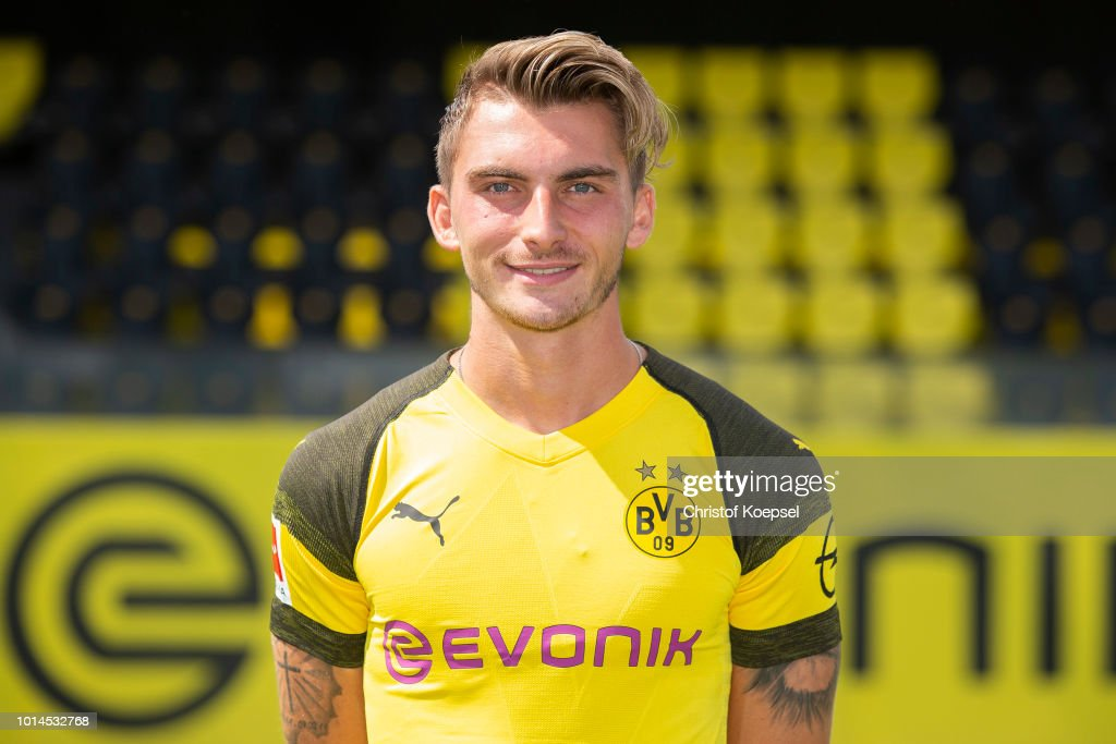 Maximilian Philipp of Borussia Dortmund looks on during the team presentation at Training Ground Brackel on August 10, 2018 in Dortmund, Germany.