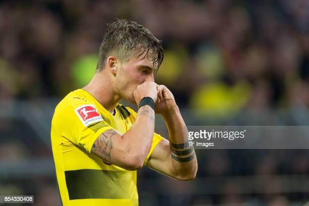 Maximilian Philipp of Dortmund celebrate a goal during the Bundesliga match between Borussia Dortmund and 1 FC Koeln at the Signal Iduna Park on...
