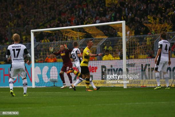 Maximilian Philipp of Dortmund celebrates after he scored his teams first goal to make it 10 during the Bundesliga match between Borussia Dortmund...