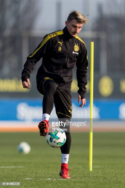 Maximilian Philipp of Dortmund controls the ball during a training session at BVB trainings center on February 07 2018 in Dortmund Germany