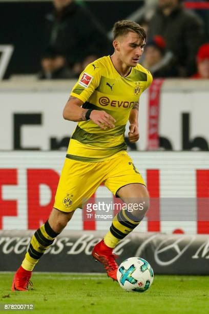 Maximilian Philipp of Dortmund controls the ball during the Bundesliga match between VfB Stuttgart and Borussia Dortmund at MercedesBenz Arena on...
