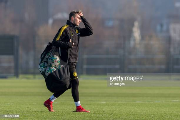 Maximilian Philipp of Dortmund gestures during a training session at BVB trainings center on February 07 2018 in Dortmund Germany