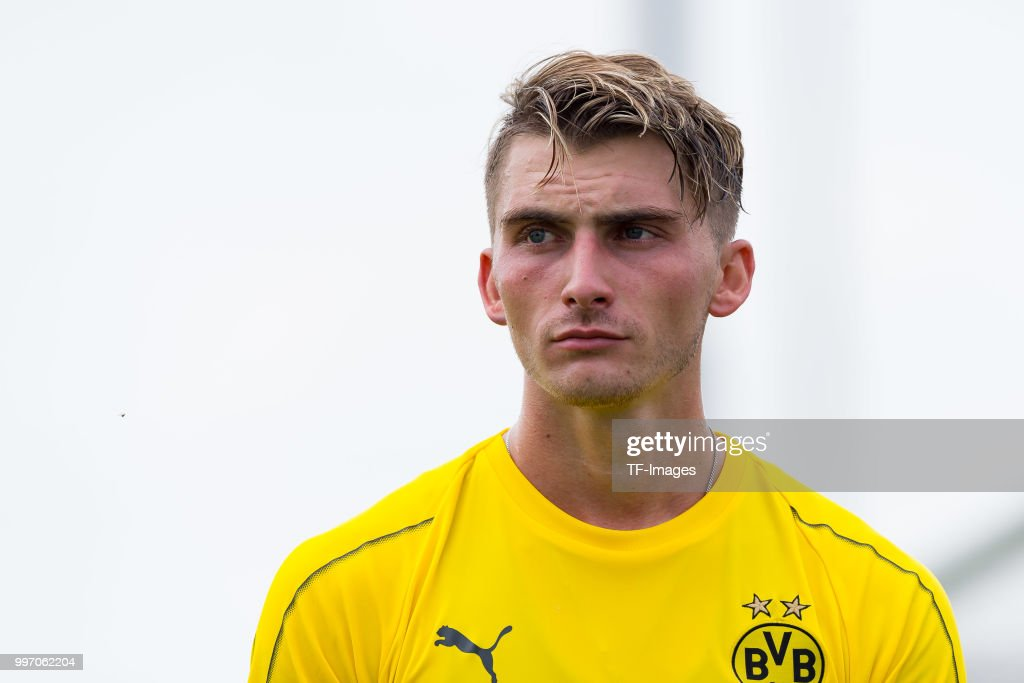 Maximilian Philipp of Dortmund looks on during a training session at BVB training center on July 12, 2018 in Dortmund, Germany.
