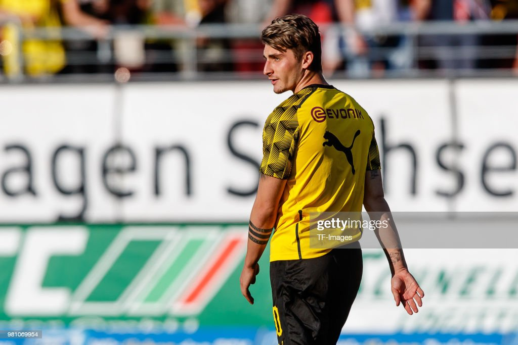 Maximilian Philipp of Dortmund looks on during the Friendly Match match between FSV Zwickau and Borussia Dortmund at Stadion Zwickau on May 14, 2018 in Zwickau, Germany.