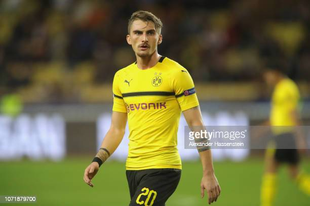 Maximilian Philipp of Dortmund looks on during the UEFA Champions League Group A match between AS Monaco and Borussia Dortmund at Stade Louis II on...