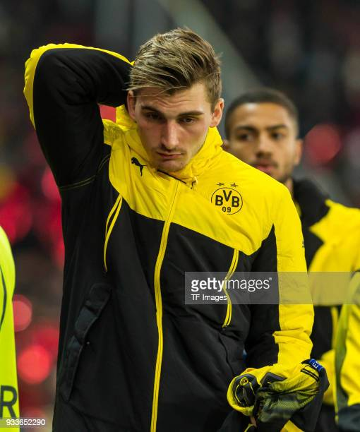 Maximilian Philipp of Dortmund looks on prior to UEFA Europa League Round of 16 second leg match between FC Red Bull Salzburg and Borussia Dortmund...