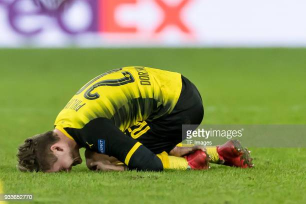 Maximilian Philipp of Dortmund on the ground during UEFA Europa League Round of 16 second leg match between FC Red Bull Salzburg and Borussia...