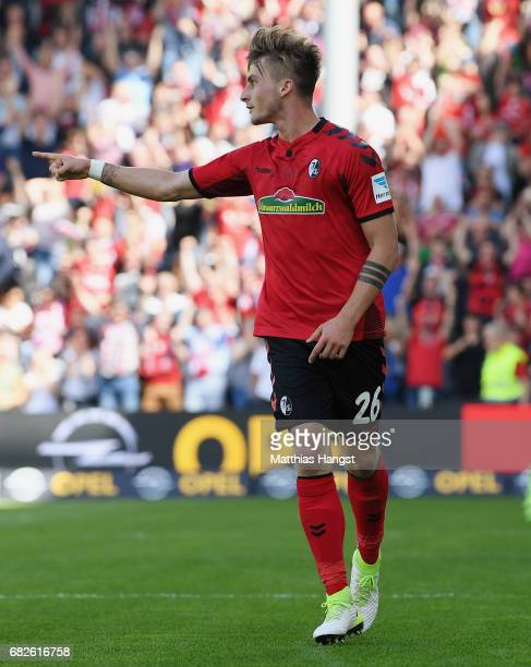 Maximilian Philipp of Freiburg celebrates after scoring his team's first goal during the Bundesliga match between SC Freiburg and FC Ingolstadt 04 at...