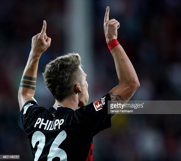 Maximilian Philipp of Freiburg celebrates his team's fifth goal during the 2 Bundesliga match between SC Freiburg and 1 FC Nuernberg at...