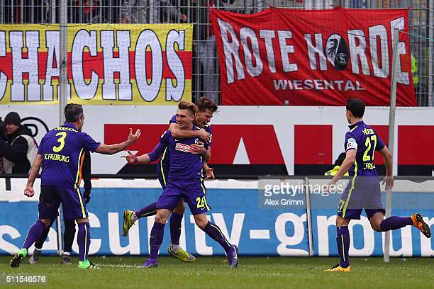 Maximilian Philipp of Freiburg celebrates his team's first goal with team mates during the Second Bundesliga match between SV Sandhausen and SC...