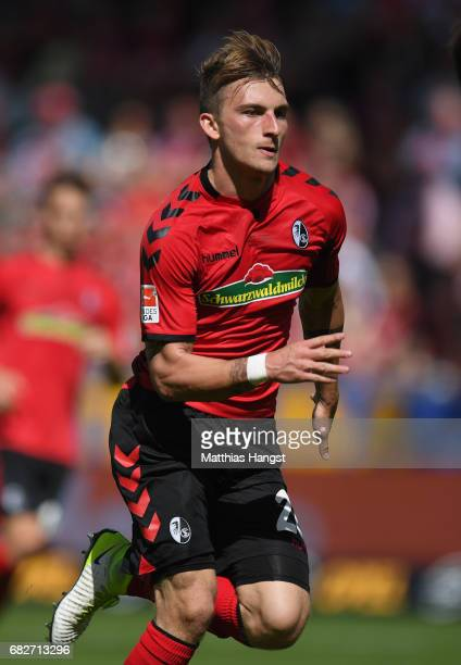 Maximilian Philipp of Freiburg runs for the ball during the Bundesliga match between SC Freiburg and FC Ingolstadt 04 at SchwarzwaldStadion on May 13...