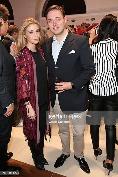 Maximilian Prinz zu Sayn Wittgenstein Berleburg and his wife Franziska during the opening of the Jaguar Land Rover Boutique on December 18 2015 in...