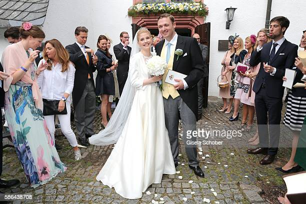 Maximilian Prinz zu Sayn WittgensteinBerleburg and his wife Franziska Balzer after the wedding of Prince Maximilian zu SaynWittgensteinBerleburg and...