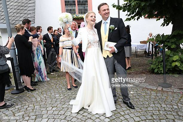 Maximilian Prinz zu Sayn Wittgenstein-Berleburg and his wife Franziska Balzer after the wedding of Prince Maximilian zu Sayn-Wittgenstein-Berleburg...