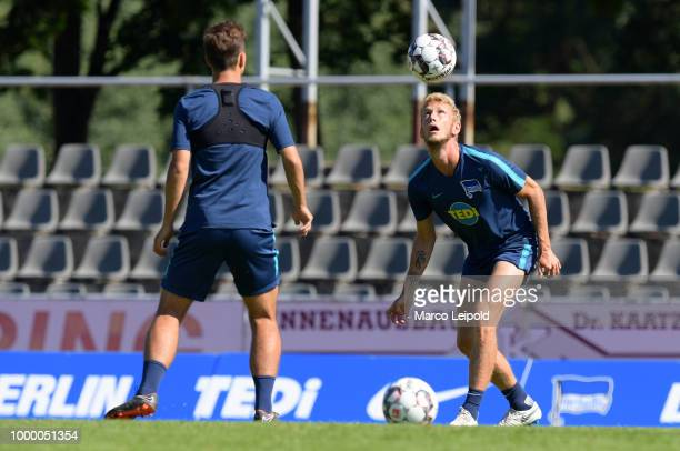 Maximilian Pronichev and Fabian Lustenberger of Hertha BSC during the training camp at the VolksparkStadion on july 16 2018 in Neuruppin Germany