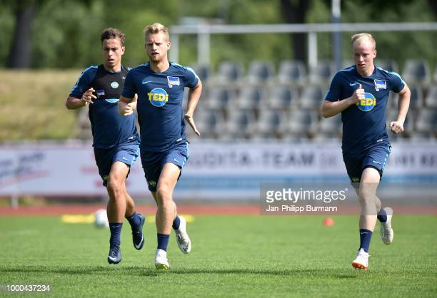 Maximilian Pronichev Arne Maier and Dennis Jastrzembski of Hertha BSC during the traininglagers at the VolksparkStadion on july 17 2018 in Neuruppin...