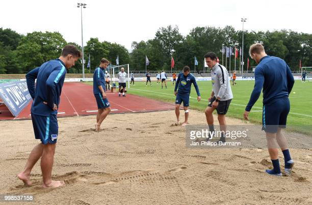 Maximilian Pronichev Niklas Stark Vladimir Darida Fitnesstrainer Henrik Kuchno and Arne Maier of Hertha BSC during the training camp at...