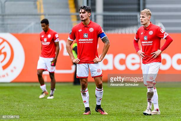 Maximilian Rossmann of Mainz 05 and Patrick Schorr of Mainz 05 are disappointed during the Third League match between 1 FSV Mainz 05 II and SG...