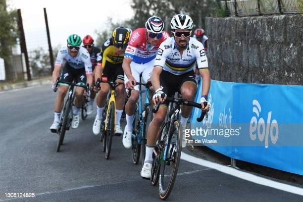 Maximilian Schachmann of Germany and Team Bora - Hansgrohe, Wout Van Aert of Belgium and Team Jumbo - Visma, Mathieu Van Der Poel of Netherlands and...