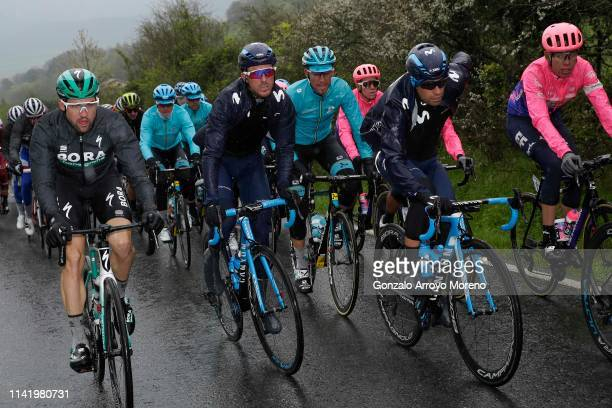 Maximilian Schachmann of Germany and Team Bora - Hansgrohe Yellow Leader Jersey / Ruben Fernandez of Spain and Movistar Team / Omar Fraile of Spain...
