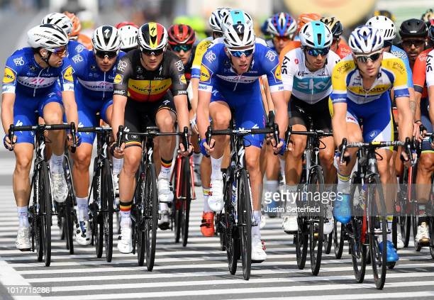 Maximilian Schachmann of Germany and Team Quick Step Floors / Florian Senechal of France and Team Quick Step Floors / Yves Lampaert of Belgium and...