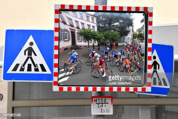 Maximilian Schachmann of Germany and Team Quick-Step Floors / Jenthe Biermans of Belgium and Team Katusha - Alpecin / Mirror / Peloton / during the...