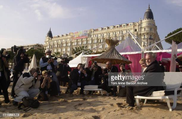 Maximilian Schell Denise Zich during MIPTV 2002 Love Lies Passion Maximilian Schell Photocall at Galion Beach in Cannes France