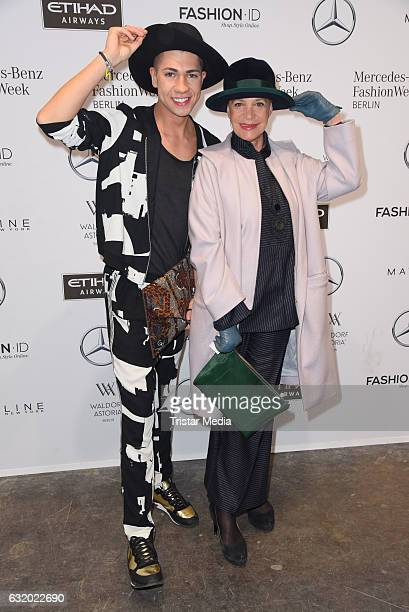 Maximilian Seitz and Barbara Engel attend the Perret Schaad show during the MercedesBenz Fashion Week Berlin A/W 2017 at Kaufhaus Jandorf on January...