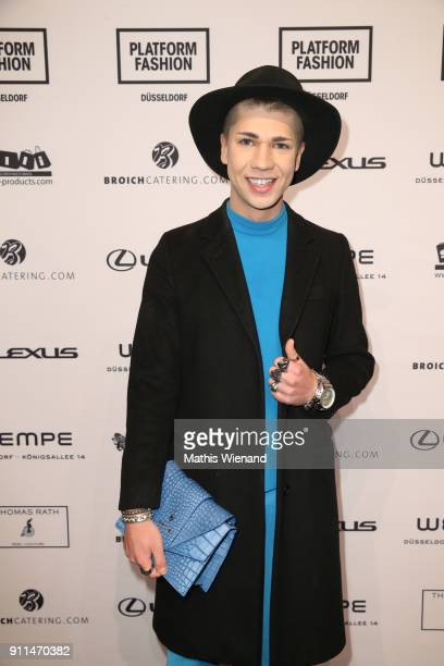 Maximilian Seitz attends the Thomas Rath show during Platform Fashion January 2018 at Areal Boehler on January 28 2018 in Duesseldorf Germany