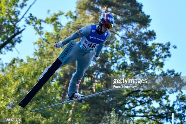 Maximilian Steiner of Austria competes during the FIS Grand Prix Skijumping Hinzenbach at on February 6, 2021 in Eferding, Austria.