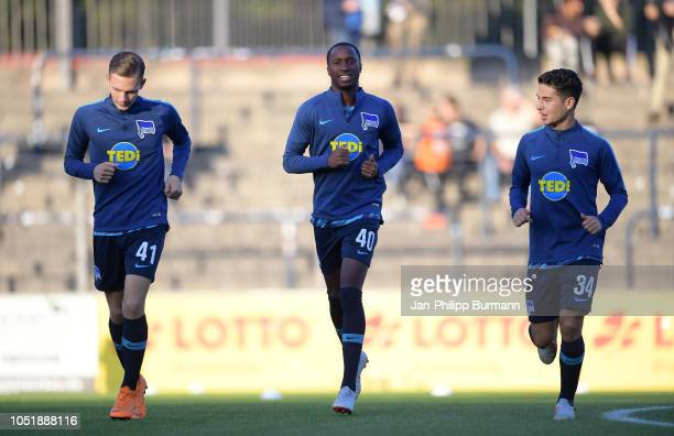 Maximilian Storm Panzu Ernesto and Maurice Covic of Hertha BSC before the game between Hertha BSC and the SV Babelsberg 03 at the...