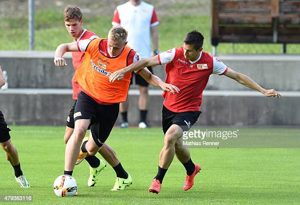 Maximilian Thiel Nils Stettin and Steven Skrzybski of 1 FC Union Berlin during the training camp of Union Berlin on july 3 2015 in Bad Kleinkirchheim...