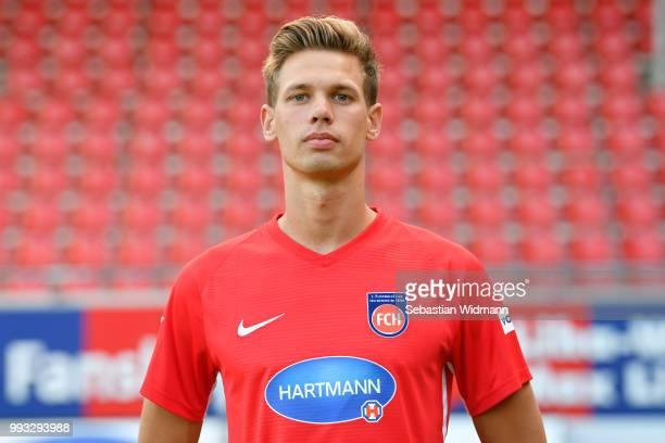Maximilian Thiel of 1 FC Heidenheim poses during the team presentation at VoithArena on July 6 2018 in Heidenheim Germany