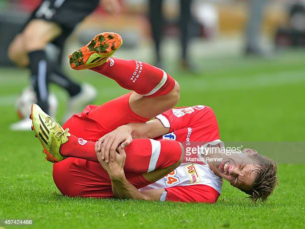 Maximilian Thiel of 1 FC Union Berlin lays on the floor during the game between 1 FC Union Berlin and SV Sandhausen on october 18 2014 in Berlin...