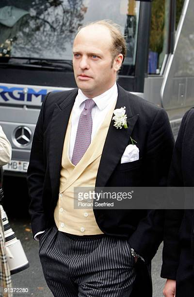 Maximilian von Schierstaedt arrives for his church wedding with Barbara Schoeneberger at the church of Rambow on October 3 2009 in Rambow Germany