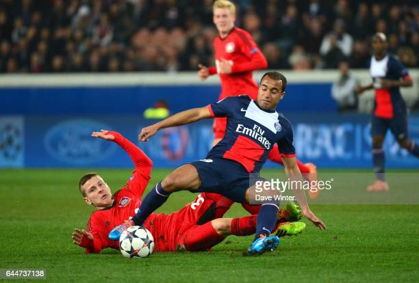 MOURA / Maximilian WAGENER Paris Saint Germain / Bayer Leverkusen 1/8Finale Champions League Photo Dave Winter / Icon Sport