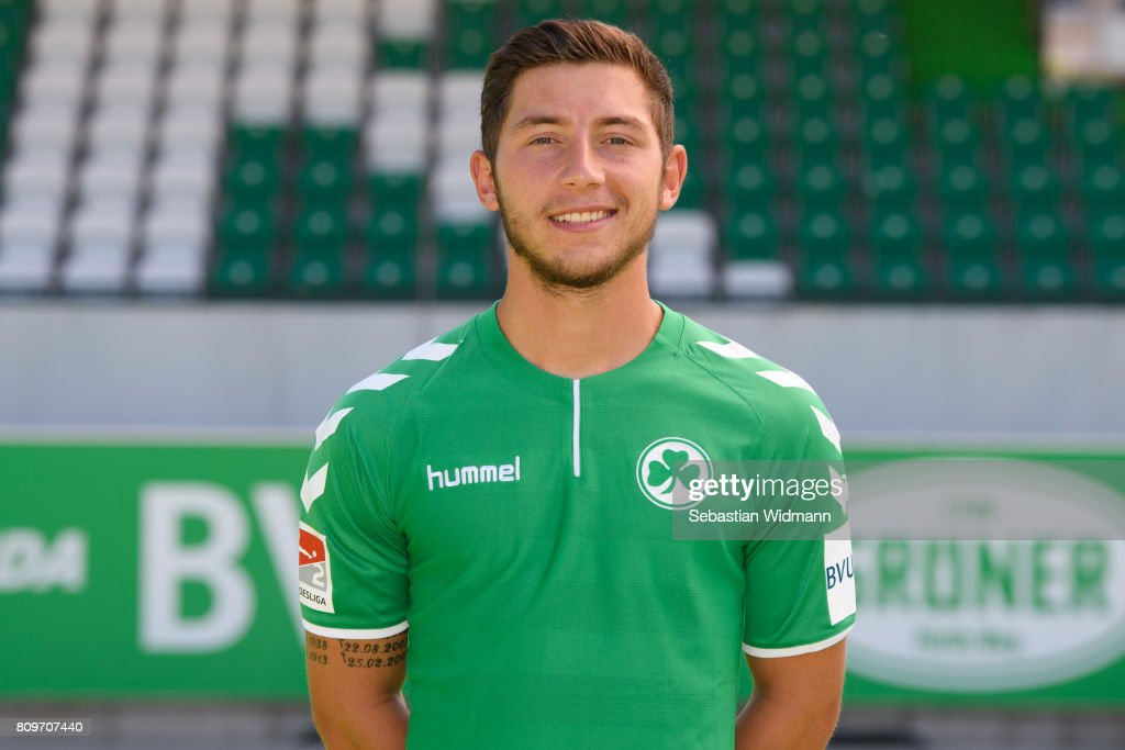Maximilian Wittek of SpVgg Greuther Fuerth poses during the team presentation at Sportpark Ronhof on July 6, 2017 in Fuerth, Germany.