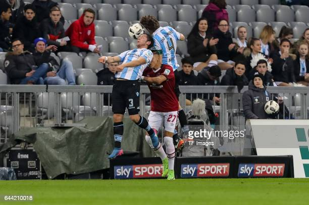 Maximilian Wittek of TSV 1860 Muenchen Kai Buelow of TSV 1860 Muenchen and <Abdelhamid Sabiri of 1 FC Nuernberg battle for the ball during the Second...