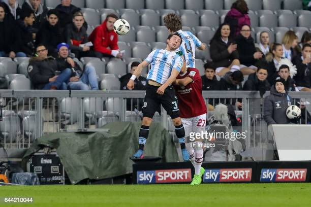 Maximilian Wittek of TSV 1860 Muenchen Kai Buelow of TSV 1860 Muenchen and Abdelhamid Sabiri of 1 FC Nuernberg battle for the ball during the Second...