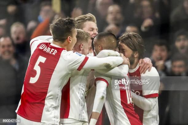 Maximilian Wober of Ajax Donny van de Beek of Ajax Frenkie de Jong of Ajax Hakim Ziyech of Ajax David Neres of Ajax Lasse Schone of Ajax during the...