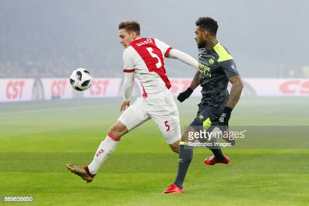Maximilian Wober of Ajax Jurgen Locadia of PSV during the Dutch Eredivisie match between Ajax v PSV at the Johan Cruijff Arena on December 10 2017 in...
