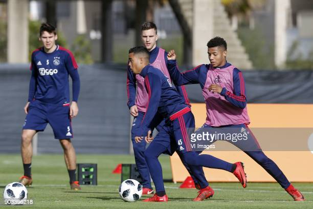 Maximilian Wober of Ajax Justin Kluivert of Ajax Joel Veltman of Ajax David Neres of Ajax during a training session of Ajax Amsterdam at the Cascada...